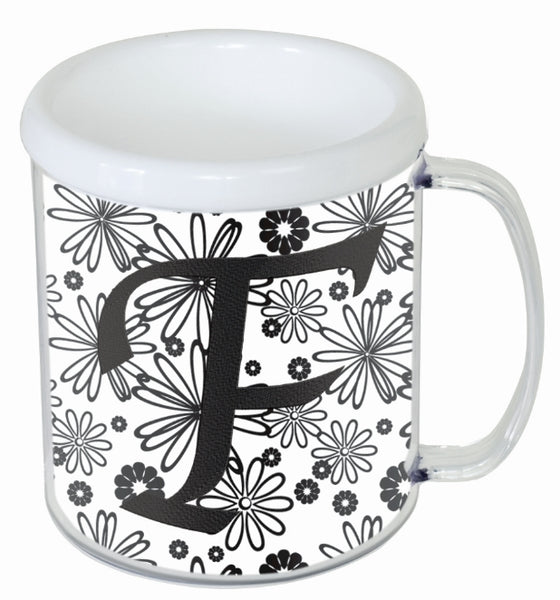 Personalized Embroidered Mug - White & Yellow Chevron - Ciao Bella Boutique