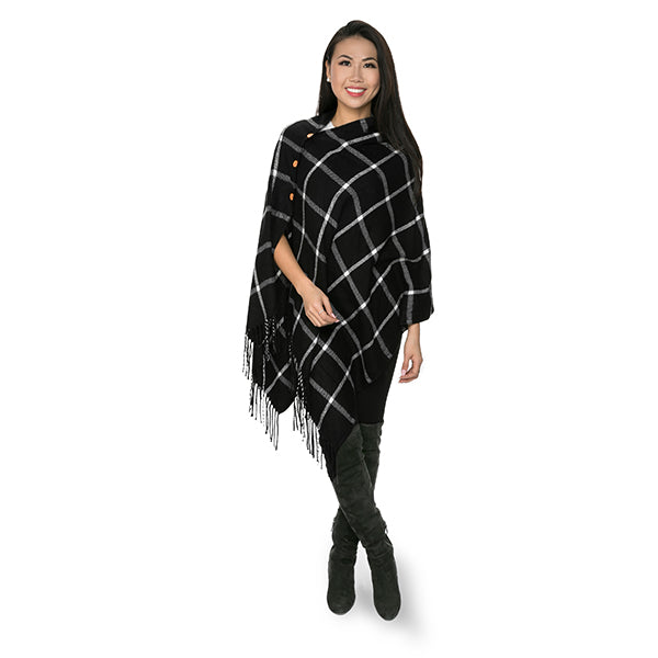 Black Windowpane Poncho - Ciao Bella Boutique