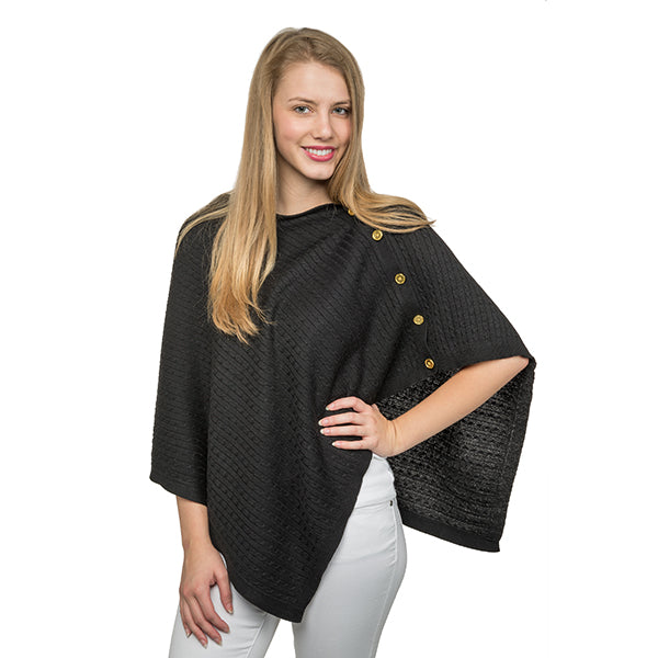 Cable Knit Poncho - Black - Ciao Bella Boutique