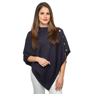 Cable Knit Poncho - Navy - Ciao Bella Boutique