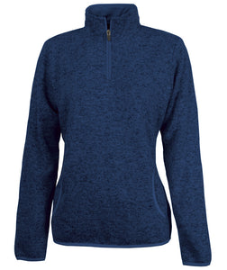 Women's Heathered Fleece Pullover - Navy Heather - Ciao Bella Boutique