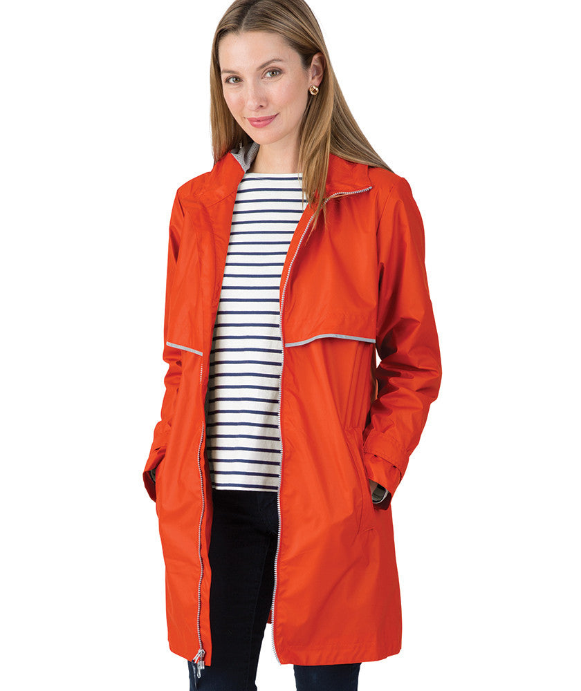 Women's New Englander Rain Coat - Orange - Ciao Bella Boutique