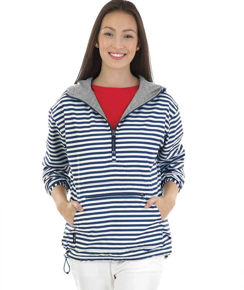 Women's Chantham Anorak Print - Navy Striped - Ciao Bella Boutique