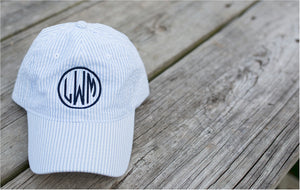 Monogram Seersucker Caps - 5 Colors - Ciao Bella Boutique