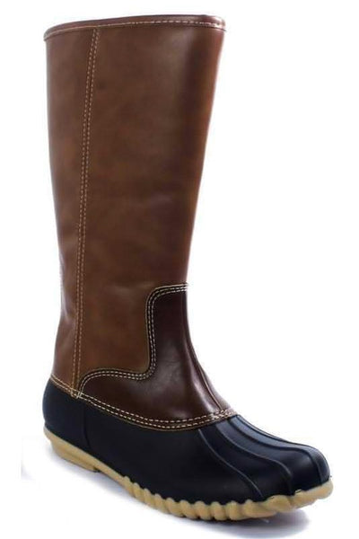 Tall Mid-Calf Duck Boots - Brown - Ciao Bella Boutique