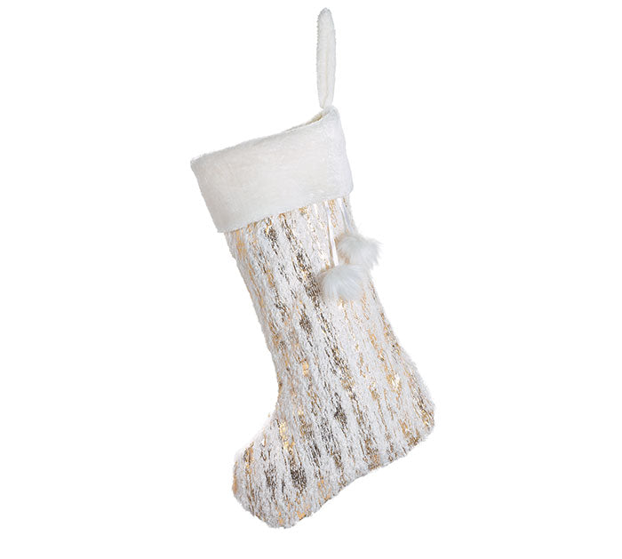 White Faux Fur Stocking with Metallic Gold - Ciao Bella Boutique