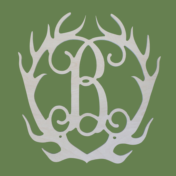 Single Initial Wood Antlers - Ciao Bella Boutique