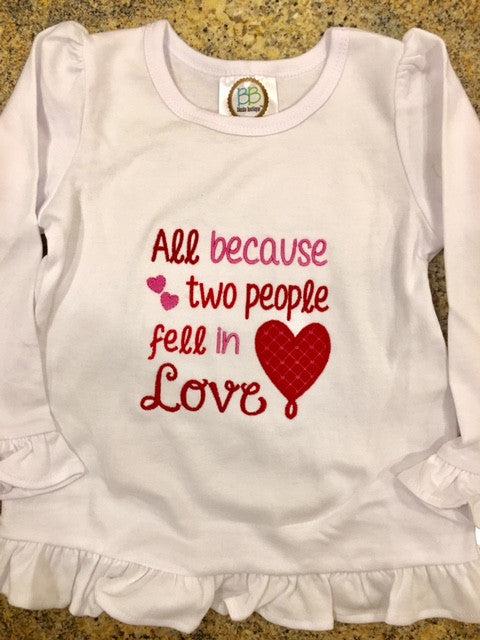 """All Because 2 People Fell in Love"" Shirt - Ciao Bella Boutique"