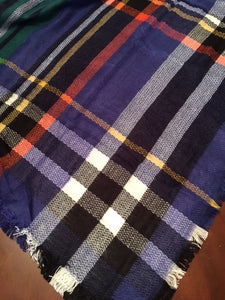 Blue Plaid Blanket Scarf - Ciao Bella Boutique