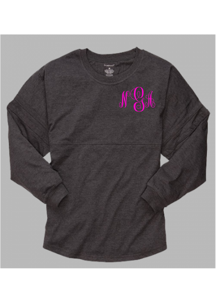 Pom Pom Jersey Adult - Charcoal  *Monogram Front & Back* - Ciao Bella Boutique