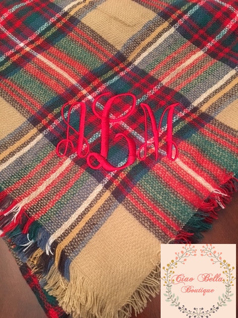 Camel/Red Plaid Blanket Scarf - Ciao Bella Boutique