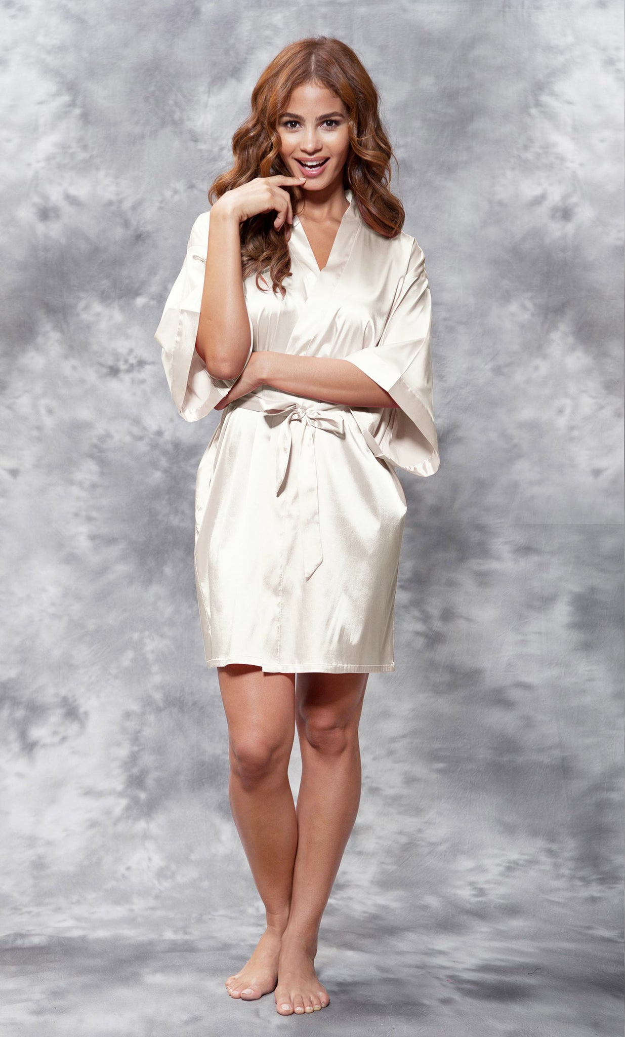 Solid Satin Robes - Champagne - Ciao Bella Boutique