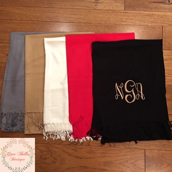 Pashmina Shawls/Scarves - Gold - Ciao Bella Boutique