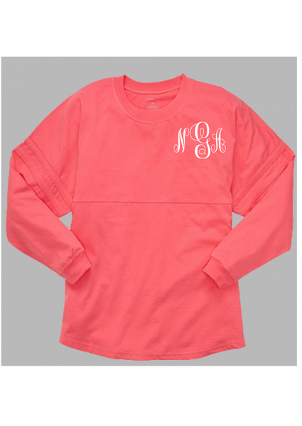 Pom Pom Jersey Adult - Coral *Embroidered* - Ciao Bella Boutique