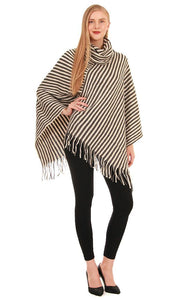 Striped Poncho - Grey/Off White - Ciao Bella Boutique