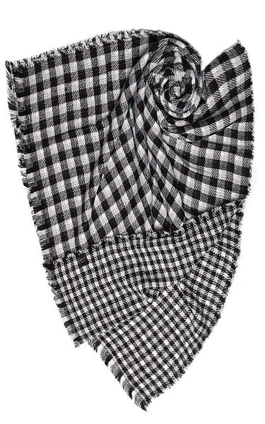 Oversized Buffalo Check Scarf - White/Black - Ciao Bella Boutique