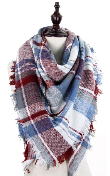 White & Blue Blanket Scarf - Ciao Bella Boutique