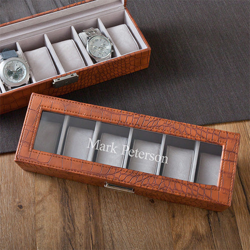 Brown Crocodile Watch Box - Ciao Bella Boutique