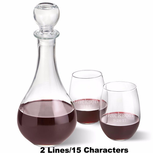 Wine Decanter with 2 Stemless Glasses Set - Ciao Bella Boutique