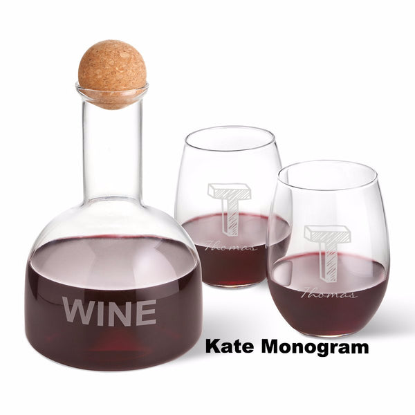 Wine Decanter in Wood Crate with 2 Stemless Wine Glasses - Ciao Bella Boutique