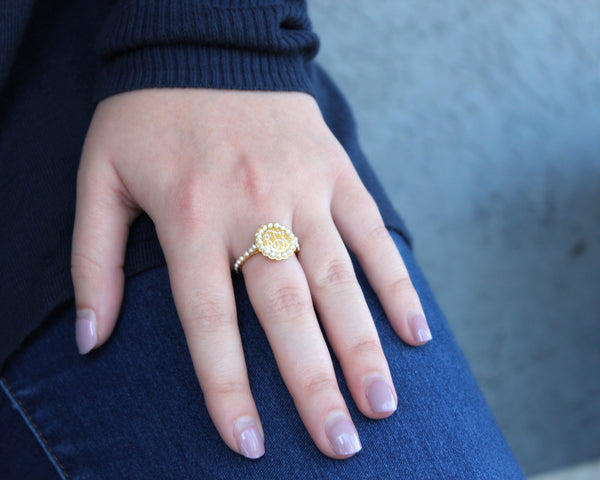 Pearls Around a Monogram - Ring - Ciao Bella Boutique