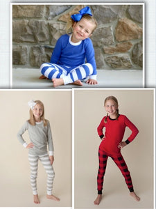 Kids Christmas Pajamas - Grey Striped, Blue Striped, Buffalo Plaid - Ciao Bella Boutique