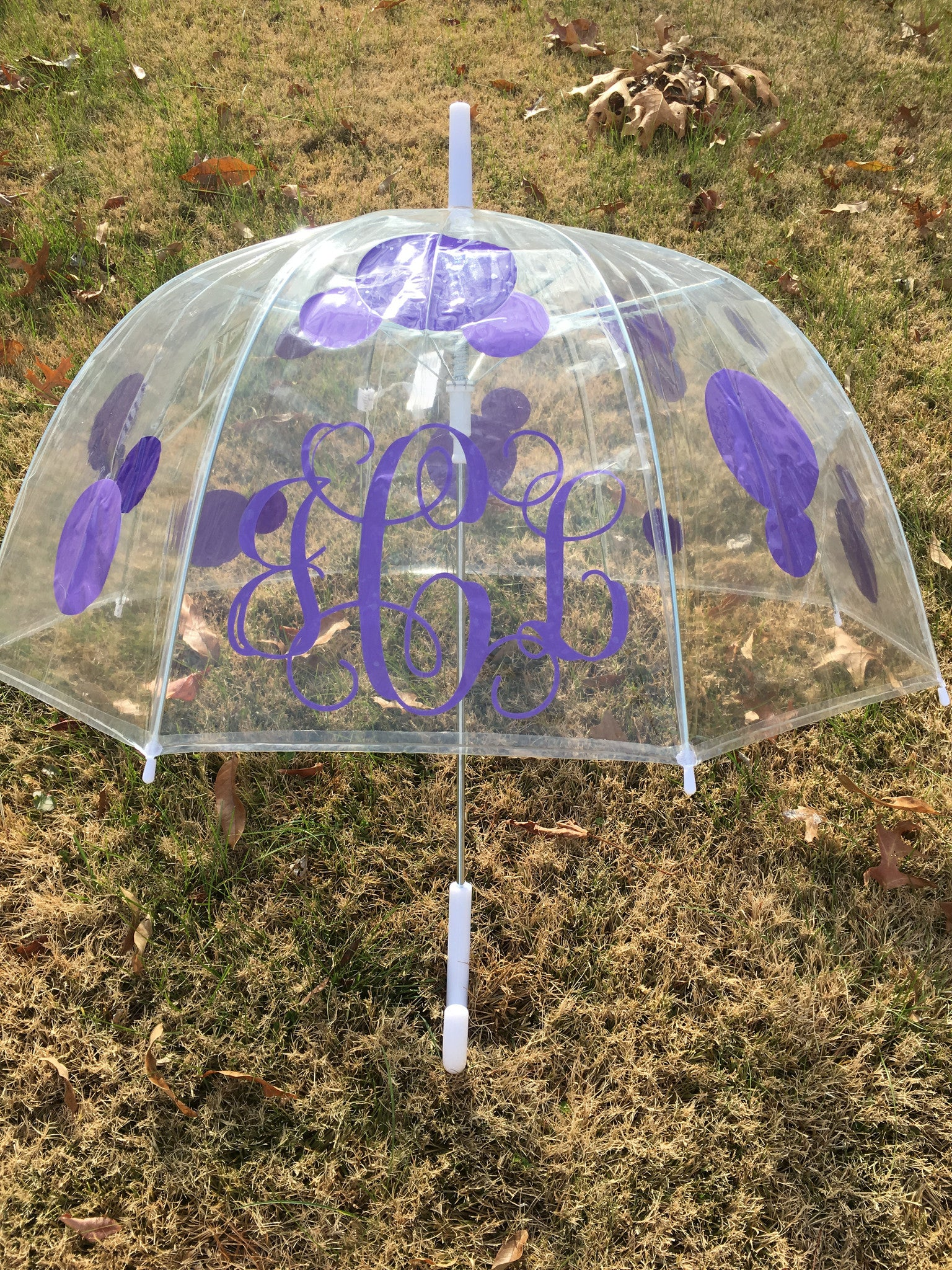 Clear Dome Umbrella - Adult Dots and Monogram - Ciao Bella Boutique