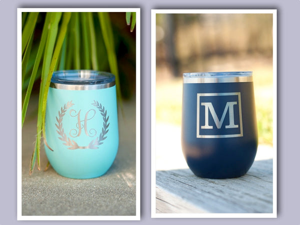 Single Initial Wine Tumbler - Wreath Initial or Boxed Initial - Ciao Bella Boutique