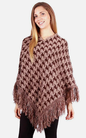 Camel Houndstooth Poncho - Ciao Bella Boutique