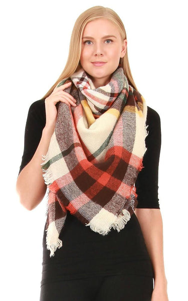 Orange Tartan Blanket Scarf - Ciao Bella Boutique
