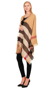 Camel & Black Plaid Blanket Scarf - Ciao Bella Boutique