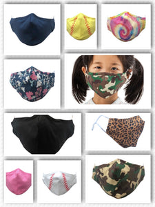 Kid Reusable Face masks with Nose Wire - 9 Color Patterns - Ciao Bella Boutique
