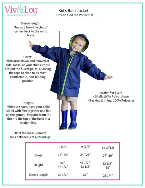 Kid's Rain Jacket - Mint/Pink - Ciao Bella Boutique