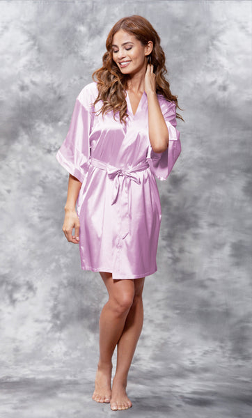 Solid Satin Robes - Lavender - Ciao Bella Boutique