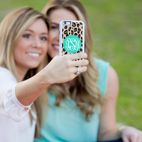 Leopard Phone Case - Pink, Mint or Black Monogram - Ciao Bella Boutique