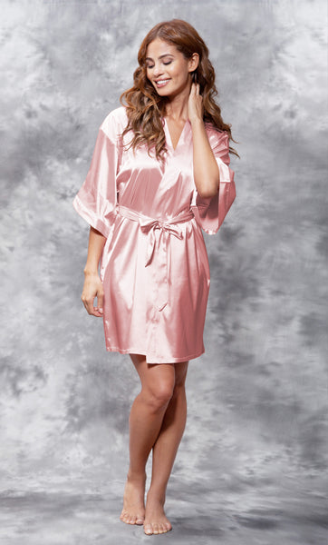 Solid Satin Robes - Light Pink - Ciao Bella Boutique