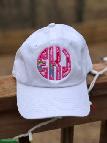 Lilly Inspired Monogram Caps - 8 Solid Cap Colors - Ciao Bella Boutique