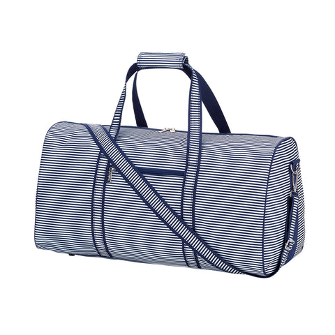 Navy Pinstripe Duffel Bag