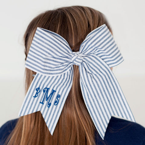 Monogram Bow - Navy Seersucker - Ciao Bella Boutique