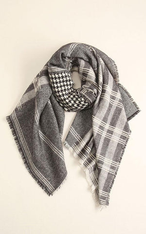 Grey Patchwork & Black Houndstooth Blanket Scarf - Ciao Bella Boutique