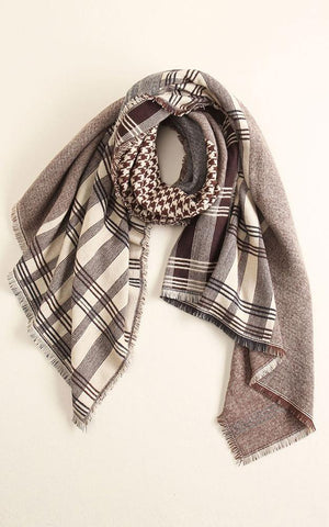 Coffee Patchwork & Houndstooth Blanket Scarf - Ciao Bella Boutique