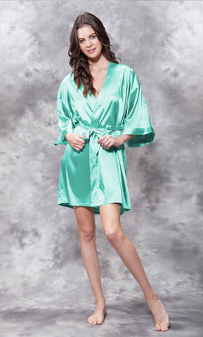 Solid Satin Robes - Mint - Ciao Bella Boutique
