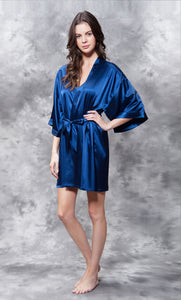 Solid Satin Robes - Navy - Ciao Bella Boutique