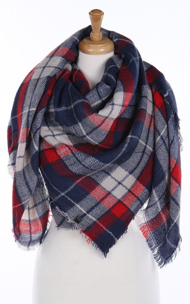 Navy & Red Blanket Scarf - Ciao Bella Boutique