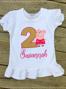 Girl Pig Birthday Shirt - Ciao Bella Boutique