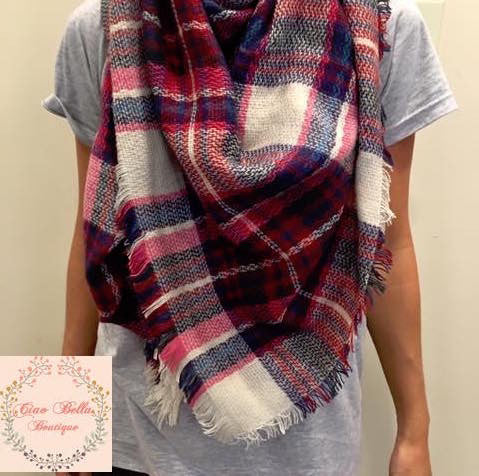 Pink Plaid Blanket Scarf - Ciao Bella Boutique