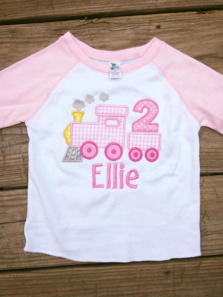 Train Birthday Shirt - Pink - Ciao Bella Boutique