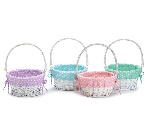 PRE-ORDER Willow Basket with Light Polka Dot Liners