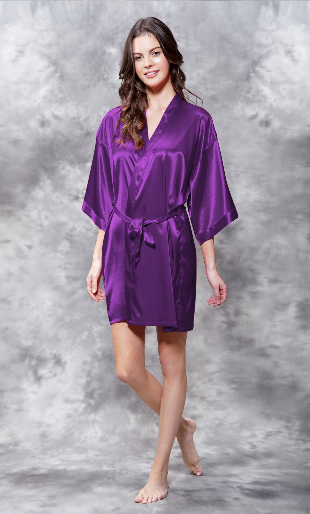 Solid Satin Robes - Purple - Ciao Bella Boutique