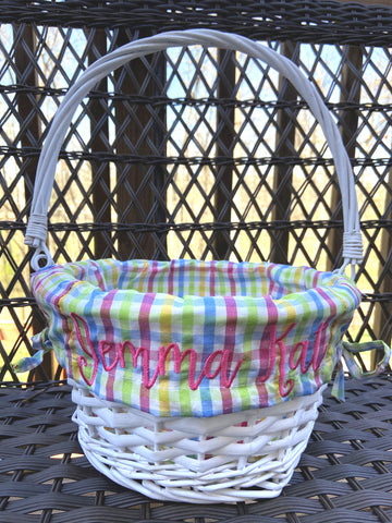PRE-ORDER Willow Basket with Rainbow Gingham Liner
